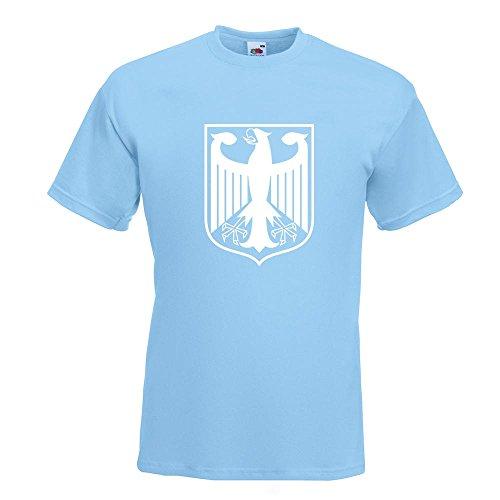 KIWISTAR - Bundeswappen Deutschland Rahmen T-Shirt in 15 verschiedenen Farben - Herren Funshirt bedruckt Design Sprüche Spruch Motive Oberteil Baumwolle Print Größe S M L XL XXL Himmelblau