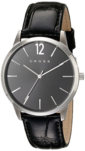 Cross Men's 40mm Black Calfskin Band Steel Case Quartz Analog Watch CR8015-01