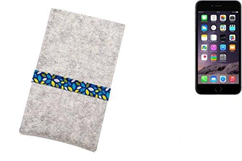 """flat.design Filzhülle """"Lisboa"""" für Apple iPhone 6 Plus - passgenaue Handytasche aus 100% Wollfilz (anthrazit) - made in Germany Schutz Case für Apple iPhone 6 Plus blaue Blätter - hellgrau"""