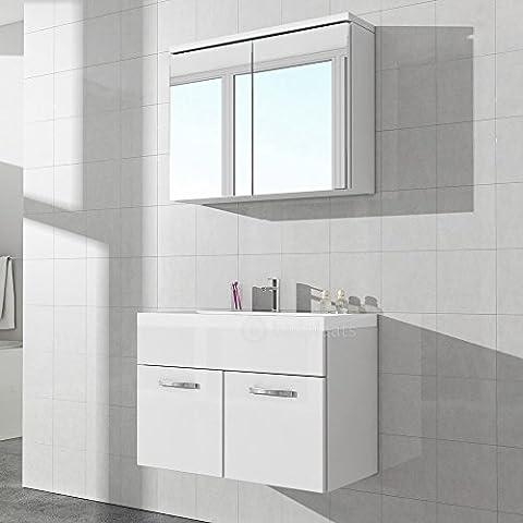 Badezimmerschrank Paso 02 80 cm Waschbecken weiß hochglanz - Spiegel Aufbewahrung Unterschrank Spüle Möbel