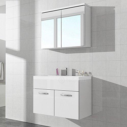 #Badezimmerschrank Paso 02 80 cm Waschbecken weiß hochglanz – Spiegel Aufbewahrung Unterschrank Spüle Möbel#