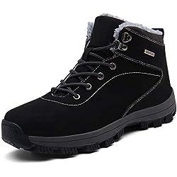 UBFEN Botas de Senderismo para Hombre Mujer Botas de Nieve Invierno Impermeable Calzado Zapatos de Ocio al Aire Libre y Deportes Zapatillas Antideslizantes cálido Confortables 43 EU A/Negro