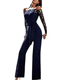 039ede8d2f865 Tuta Intera Donna Elegante Lunga Vintage Pizzo Cucitura Semplice Glamorous  Tute Da Cerimonia Sera Jumpsuit Manica Lunga Senza Spalline…