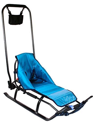 Skyline - Slitta 3 in 1 in alluminio per bambini, con schienale, sacco coprigambe, maniglione per spingere e cintura di sicurezza, Graphite/Blue