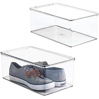 mDesign boite à chaussures empilable avec couvercle (lot de 2) - boite rangement chaussures ...