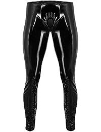 iEFiEL Herren Strumpfhosen Wetlook Glanz Lack-Optik schwarz Leggings Hosen Unterwäsche Ouvert-Pants M L XL XXL