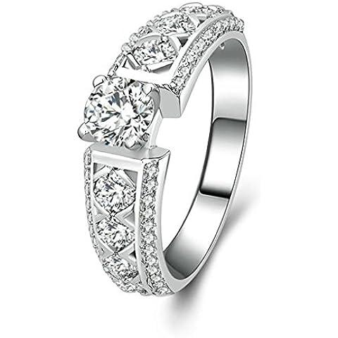 (Personalizzati Anelli)Adisaer Anelli Donna Argento 925 Anello Fidanzamento Incisione Gratuita Ovale Doppio Anello Diamante - 14k Dell'anello Indiano