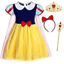 AmzBarley Vestido Niña Princesa Ceremonia Tutu Tul,Blancanieves Disfraz Rapunzel Traje Princesa Elsa Frozen Niña
