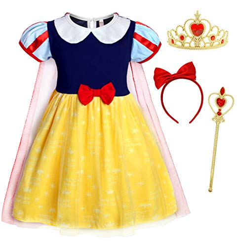 AmzBarley Schneewittchen/Anna Kostüm Kinder Mädchen Verkleidung Prinzessin Kleid Schick Party Kleider mit Kap, Gelb039 mit Dekorationen, 3-4 Jahre