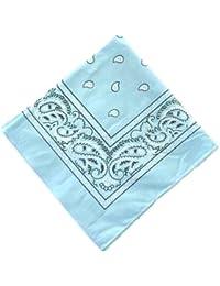 TC-Accessories Foulard Bandana carré en coton Motif cachemire Bleu clair