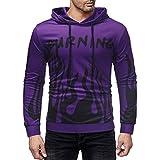 Herren Pullover Männer Zipper Kängurutasche Hoodie | Einfarbig Shirt | Kordelzug Oberteile | Mit Kapuze Tops | Basic T-Shirt | Slim Fit Sweatshirt | Mode Elegante Langarmshirt Blusen M Purple TP-50