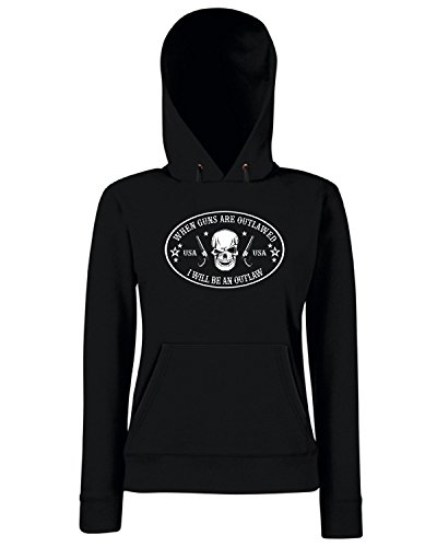 T-Shirtshock - Sweats a capuche Femme TM0664 bi 1 when guns are outlawed Noir