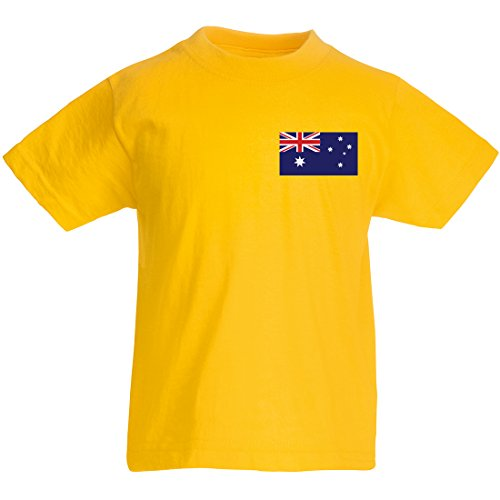 Maßgeschneiderte Kinder Fußball-T-shirt, individualisierbar, Australien 5 Jahre Gelb - Sonnenblumengelb (T-shirt Baby Ash)