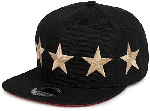 styleBREAKER Snapback Cap \'Stars\' im 2-Tone Design, Baseball Cap, Unisex 04023030, Farbe:Schwarz-Gold