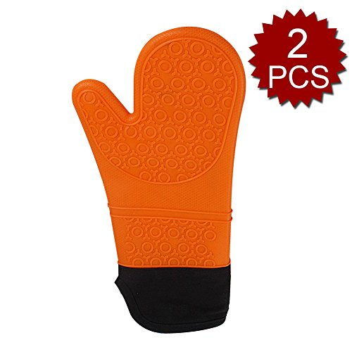 aspire 2 pcs étanche en Silicone Four Mitaines, Extra Long Four Mitaines Gants, Coton, Orange, Taille Unique