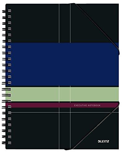 Leitz Cahier A4, 160 Pages, Quadrillé, 3 Intercalaires Amovibles et chemise 3 rabats, Executive Be Mobile, Multicolore, 44630000