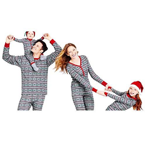 Poonkuos Dad Mom Bebé Niños Familia Matching Navidad Conjunto de Pijamas - Copo de Nieve Impresión Ropa de Dormir PJs para la Familia