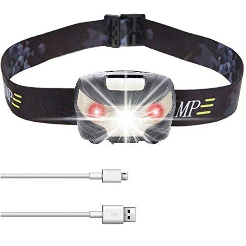 Gr8Life Stirnlampe, Stirnlampe joggen, USB wiederaufladbar Kopflampe, wasseridcht, 5 Lichtmodi inklusive Rotlicht, Ideal für Camping, Laufen,Joggen, Jagd und Lesen.