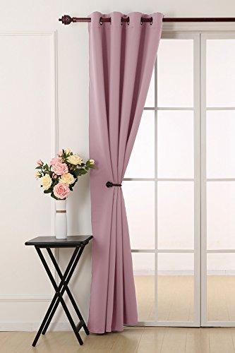 Deconovo tenda oscurante termica isolante con occhielli per la tua casa 100% poliestere 132x241 cm rosa chiaro un pannello