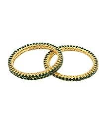 SG Jewells American Diamond Gold Plated Traditional Green Diamond 4 Bangles Set For Women_2.6