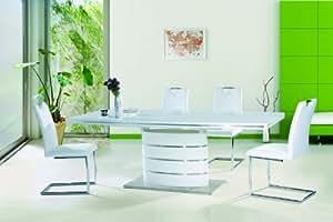 Jadella Ensemble table à rallonges 90 x 160-220 x 75 cm et 6 chaises Blanc