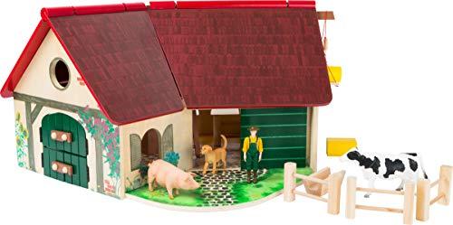 Woodfriends 11005 azienda agricola in legno con animali, recinto, recinto, gru, scala e contadino, a partire dai 3 anni di età