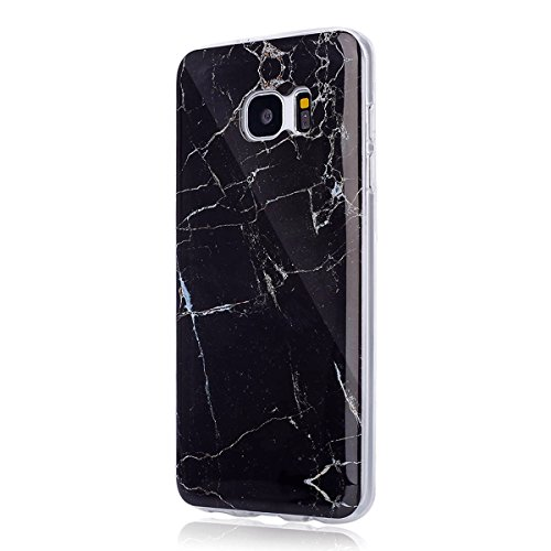 Coque Galaxy S7 Edge, Étui Galaxy S7 Edge, ISAKEN Coque Samsung Galaxy S7 Edge - Étui Housse Téléphone Étui TPU Silicone Souple Coque Ultra Mince Gel Doux Housse Motif Arrière Case Antichoc Doux Durab marbre: noir