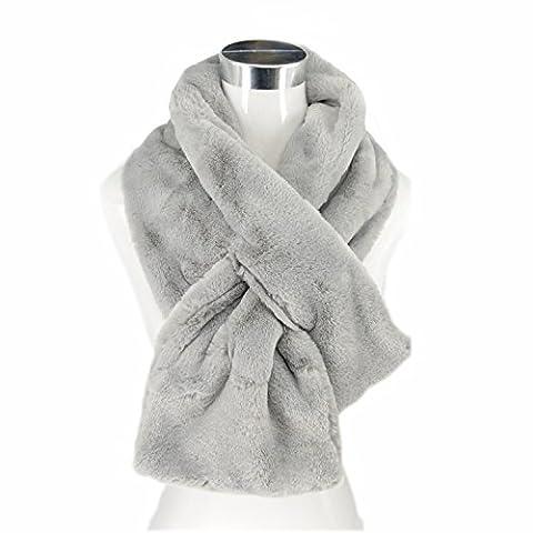 Saint Valentin doux Tendre Foulard écharpe-tube en poil couleur pure (gris)