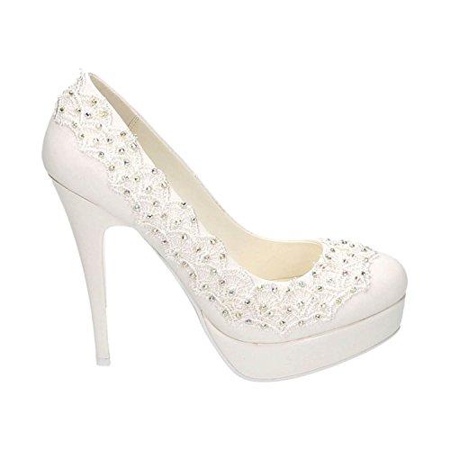 Damen Brautschuhe Hochzeit Pumps Weiß Strass Nieten Stilettos Elegant High Heels Plateau Abend Schuhe Bequem Weiß 21