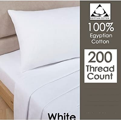 Rayyan Linen's White 100% Egyptian Cotton Pair Of Pillowcases 200 Thread Count 50 X 75 Cm