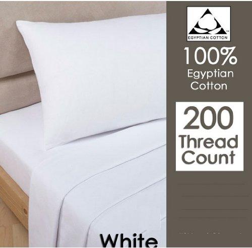 RAYYAN LINEN'S WHITE 100% EGYPTIAN COTTON PAIR OF PILLOWCASES 200 THREAD COUNT 50 X 75 CM