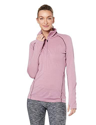 Icebreaker Damen Merino Zeal Long Sleeve Half Zip Pullover Top, geruchsabweisend, Damen, Women's Zeal Long Sleeve Half Zip, Opal/Velvet, Small -