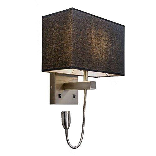 QAZQA Design/Moderne Applique murale Bergamo acier avec abat-jour noir Métal/Tissu Noir,Acier Carré/Rectangulaire/Lampe de chevet/Lampe de lecture/Luminaire/Lumiere/Éclairage/intérieur/Salon/Cuisine