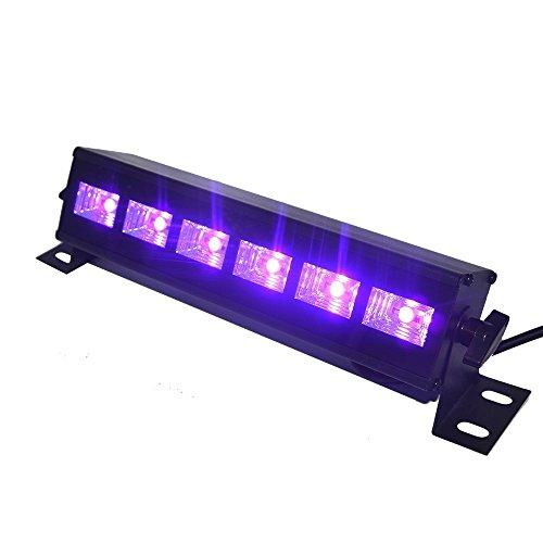 UV Beleuchtung Schwarzlicht, 6LEDx3W UV LED Bar mit Schwarzen Glühbirnen in Metallgehäuse für Glow Party, Halloween, Weihnachten und Spezialeffekte