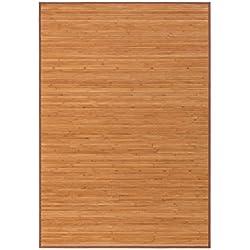 LOLAhome Alfombra pasillera Industrial marrón de bambú de 140 x 200 cm Factory, 140x200