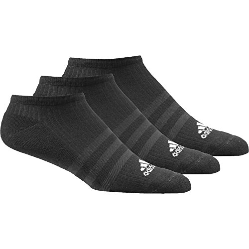 Adidas Men 3-Stripes No-Show Socks (pair Of 3) - Black/Black/White, Size 39 - 42