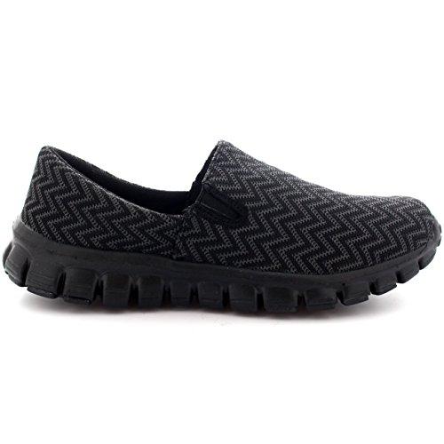 Damen Gehen Schlüpfen Sports Laufen Schuhe Jogging Arbeit Ausbilder Schwarz
