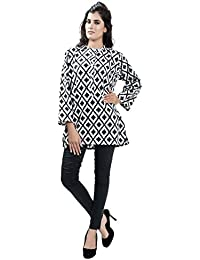 Women's Black And White Criscross Print Cotton Short Kurta