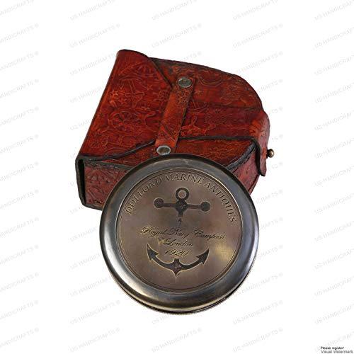 US HANDICRAFTS Kompass aus Messing, Antik-Stil, handgefertigt, mit Lederetui, großer Kompass mit Gedicht, Marineblau