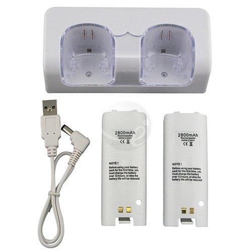 Ladestation Ersatz-Akku - TOOGOO(R) Premium LED-Licht Ladestation und 2 Hohe Kapazitaet wiederaufladbare Ersatz-Akku Kompatibel mit Nintendo Wii-Fernbedienung kostenlos mit USB-Kabel -