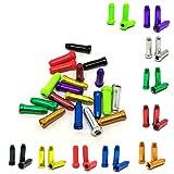 PPX 50 Pezzi Multicolore Lega Montagna Bicicletta Freno Cavo Punte Cappuccio del Freno con Scatola di Immagazzinaggio,10 Colori