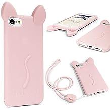 Funda iPhone 6 Plus / 6s Plus , URCOVER Funda Orejas de Gato para Mujer / Niña Carcasa Silicona Flexible Gato Kitty Cat Apple iPhone 6 Plus / 6s Plus + Cuerda para Colgar Seguridad para Móvil Smartphone Fucsia