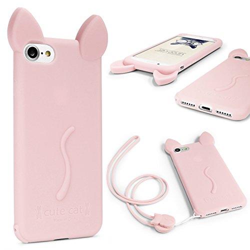 Rosa Katze Ohren (Urcover® Apple iPhone 6 / 6s Handy Schutz-Hülle mit KATZEN OHREN & [ Trage-Schlaufe ] Silikon-Cover in Rosa Smartphone Zubehör Öhrchen Schale Süß Tasche Girl Super Sweet Cute Cat Ear)