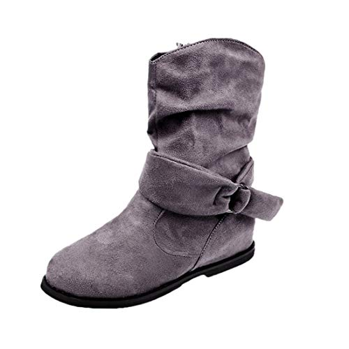 BHYDRY Schuhe Damen Vintage Stil Stiefeletten Mittlere Stiefel Flache Booties FüR Frauen Weiche Schuhe Elegant Stiefel Winterstiefel Mittlerer(40 EU,Grau)