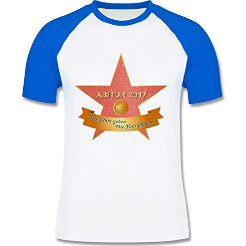 Abi & Abschluss - Abi 2017 - Die Stars gehen, die Fans bleiben - zweifarbiges Baseballshirt für Männer Weiß/Royalblau