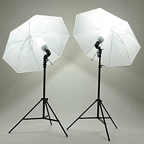 amzdeal ® kit parapluie pour Studio Photo/Vidéo 2 x 135 W + 2 Trépieds + 2 Parapluies + 2 Douilles