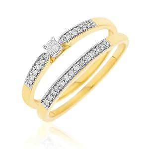 Ensemble Bague de fiançailles et alliance - Femme - Or jaune (9 cts) 3.65 Gr - Diamant - T 52