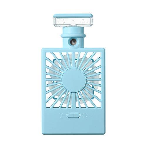 MXT-RM USB-Sprühventilator, wiederaufladbarer Desktop-Handventilator, tragbarer leiser Energiesparventilator, Nachtlicht,Blue