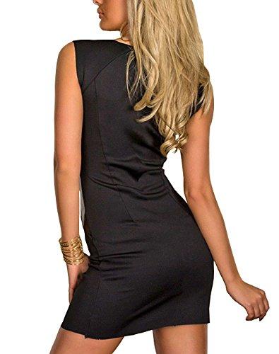 Boliyda Sexy Sommer mit Reißverschluss Faux Leder Bodycon Kleid für Frauen Schwarz