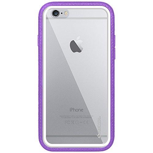 Amzer Crusta edge2edge Case/Schutzhülle, mit Tischplatte aus gehärtetem Glas und Holster (für iPhone 6Plus schwarz/grau) Black/Grey/Purple/White